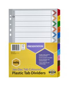 Marbig Plastic Divider,A4 Reinforced Jan-Dec Tab,Multi Colour