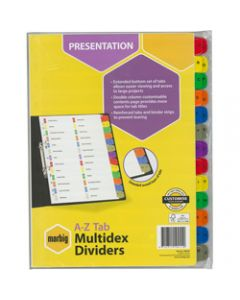Marbig Manilla Divider,A4 Multidex A-Z Tab,Multi Colour