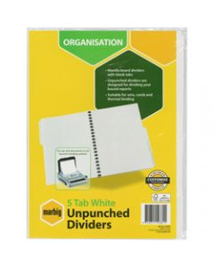 Marbig Manilla Divider,A4 5 Tab Unpunched,White
