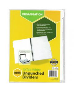 Marbig Manilla Divider,A4 10 Tab Unpunched,White