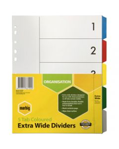Marbig Plastic Divider,A4 Extra Wide 5 Tab,Multi Colour
