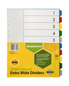 Marbig Plastic Divider,A4 Extra Wide 10 Tab,Multi Colour