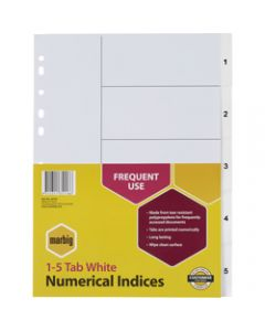 Marbig Plastic Divider,A4 Indices 1-5,White