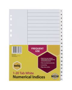 Marbig Plastic Divider,A4 Indices 1-20,White