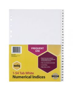 Marbig Plastic Divider,A4 Indices 1-54,White