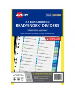 AVERY L7411-AZDC READY INDEX,A4 A-Z Index White,Asstd Tabs,Includes 26 Tabs