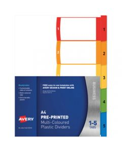 AVERY L7411-5 READY INDEX,PP A4 1-5 Index Asstd Tabs,Includes 5 Tabs