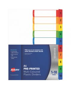 AVERY L7411-10 READY INDEX,PP A4 1-10 Index Asstd Tabs,Includes 10 Tabs