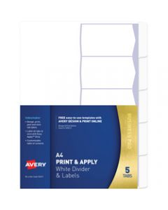 AVERY L7455-5 INDEXMAKER LABEL,A4 5 Tabs Punched White,Includes 5 Tabs
