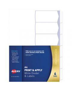 AVERY L7455-6 INDEXMAKER LABEL,A4 6 Tabs Punched White,Includes 6 Tabs