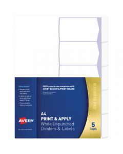 AVERY L7455-5 INDEXMAKER LABEL,A4 5 Tabs Un-Punched White,Includes 5 Tabs