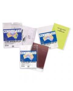 Cumberland Sheet Protectors A4,Extra Heavy Duty Glass Clear,Flap Pack of 10