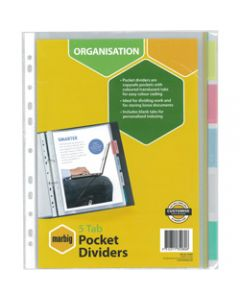 Marbig Plastic Divider,A4 5 Tab Clear Pocket,Multi Colour