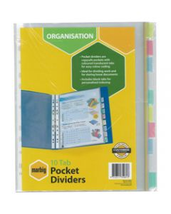Marbig Plastic Divider,A4 10 Tab Clear Pocket,Multi Colour
