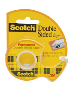 SCOTCH 136 DOUBLE SIDED TAPE,12.7mmx6.3m & Dispenser,Roll