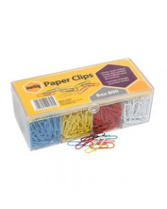 MARBIG PAPER CLIPS,Large Vinyl Coated Assorted,Box of 800