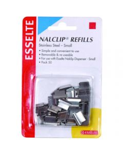 ESSELTE NALCLIP REFILLS,Small St/Steel,Pack of 50