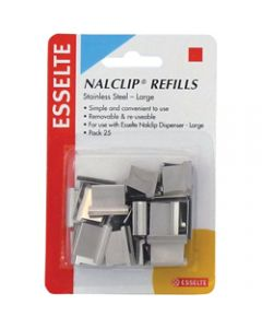 ESSELTE NALCLIP REFILLS,Large St/Steel,Pack of 25