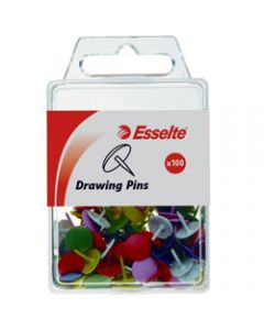 ESSELTE COLOURED DRAWING PINS,Assorted,Pack of 100