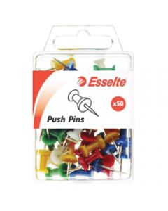 ESSELTE PINS PUSH,8x20mm Assorted,Pack of 50