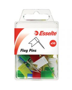 ESSELTE PINS FLAG,10x18x33mm Assorted,Pack of 50