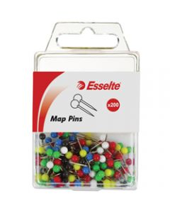 ESSELTE PINS MAP,4x17mm Assorted,Pack of 200
