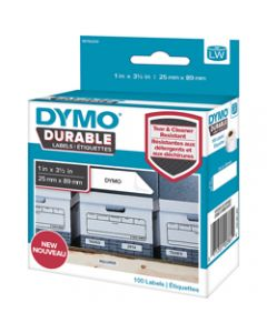 DYMO LABELWRITER LABELS,Durable White Label 25mmx89mm,100 labels