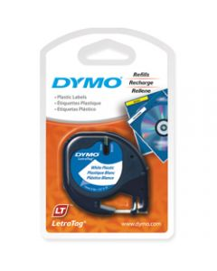 DYMO LETRATAG LABEL CASSETTE,12mmx4m -Pearl White