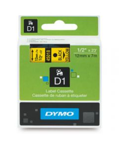 DYMO D1 LABEL CASSETTE TAPE,12mm x 7m,Black on Yellow