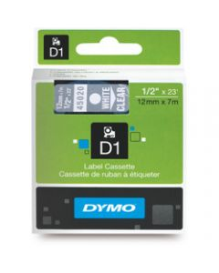 DYMO D1 LABEL CASSETTE TAPE,12mm x 7m,White on Clear