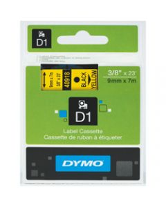DYMO D1 LABEL CASSETTE TAPE,9mm x 7m,Black on Yellow