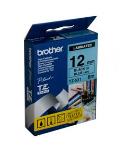 BROTHER TZE-531 P-TOUCH TAPE,12MMx8M Black on Blue Tape