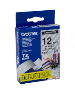 BROTHER TZE-131 P-TOUCH TAPE,12MMx8M Black on Clear Tape
