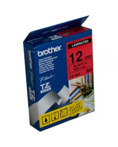 BROTHER TZE-431 P-TOUCH TAPE,12MMx8M Black on Red Tape