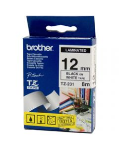 BROTHER TZE-231 P-TOUCH TAPE,12MMx8M Black on White Tape