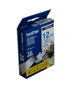 BROTHER TZE-233 P-TOUCH TAPE,12MMx8M Blue on White Tape
