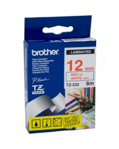 BROTHER TZE-232 P-TOUCH TAPE,12MMx8M Red on White Tape