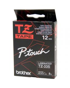 BROTHER TZE-335 P-TOUCH TAPE,12MMx8M White on Black Tape
