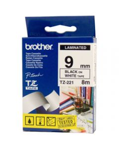 BROTHER TZE-221 P-TOUCH TAPE 9MMx8M Black On White
