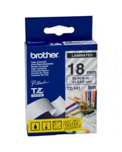 BROTHER TZE-141 P-TOUCH TAPE Ptouch 18mmx8m Black On Clear