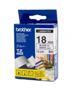 BROTHER TZE-241 P-TOUCH TAPE 18mmx8m Black On White
