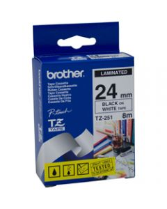 BROTHER P-TOUCH TAPE TZE-251 24MMx8M Black On White