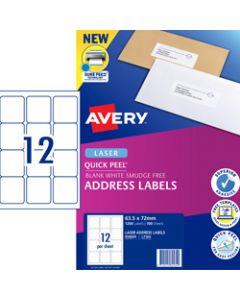 AVERY L7164 MAILING LABELS Laser 12 UP 63.5 x 72mm Box of 100