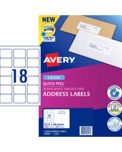AVERY L7161 MAILING LABELS,Laser 18 UP 63.5x46.6mm,Box of 100