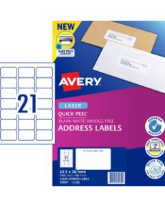 AVERY L7160 MAILING LABELS,Laser 21 UP 63.5x38.1mm,Box of 100