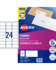 AVERY L7159 MAILING LABELS,Laser 24 UP 64x33.8mm,Box of 100