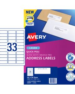 AVERY L7157 MAILING LABELS,Laser 33 UP 64 x24.3mm Address,Box of 100