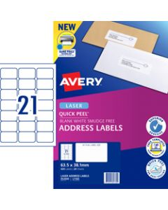 AVERY L7160 MAILING LABELS Laser 21/Sht 63.5x38.1mm Pack of 420