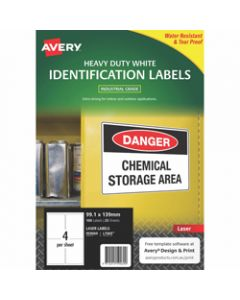 AVERY L7069 DURABLE H/D LABEL,Laser 4/Sht 99.1x139mm Wht,Pack of 100