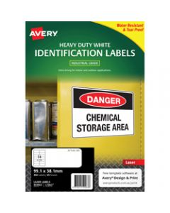 AVERY L7063 DURABLE H/D LABEL,Laser 14/Sht 99.1x38.1mm Wht,Pack of 350